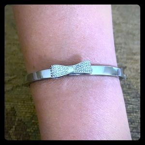 Kate Spade silver crystal bow bangle